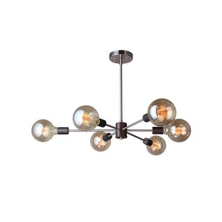 "Woodbridge Lighting 16116-G125 Ethan 31 1/2"" Wide 6 Light Sputnik Style Abstract Single Tier Chandelier with Vintage Bulbs"