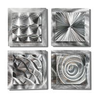 Statements2000 Silver Metal Wall Art Accent Sculpture by Jon Allen (Set of 4) - 4 Squares