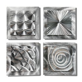 Charmant Statements2000 Set Of 4 Silver Metal Wall Art Accents By Jon Allen   4  Squares