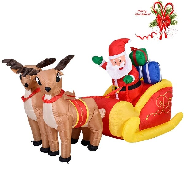 Costway 7 Ft Waterproof Inflatable Double Deer w/ Sled Christmas Decoration Outdoor Art