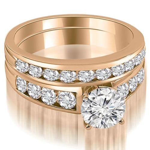 2.15 cttw. 14K Rose Gold Classic Channel Set Round Cut Diamond Bridal Set