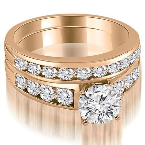 2.65 cttw. 14K Rose Gold Classic Channel Set Round Cut Diamond Bridal Set