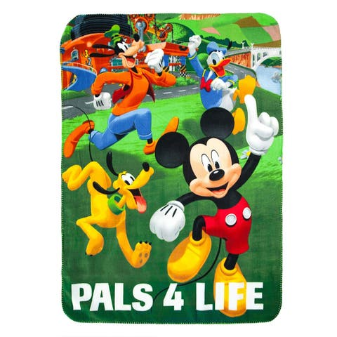 "Toddler BOY Throw BLANKET BLUE SOFT FLEECE 45x60"" Disney Mickey ""Pals 4 life"""