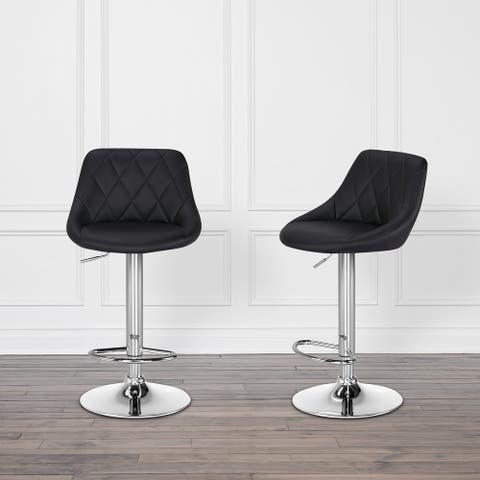 Abbyson Baxter Faux Leather Swivel Adjustable Counter & Bar Stool (Set of 2)