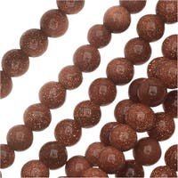Dakota Stones Gemstone Beads, Goldstone, Round 4mm, 8 Inch Strand