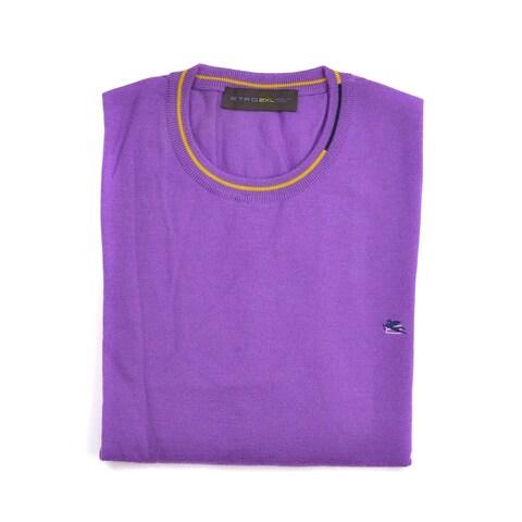 Etro Purple Pure Wool Duo Tone Border Crew Neck Sweater