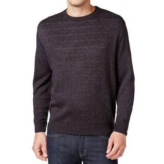 Weatherproof Gray Men's Size 2XL Pindot Check Crew Neck Sweater