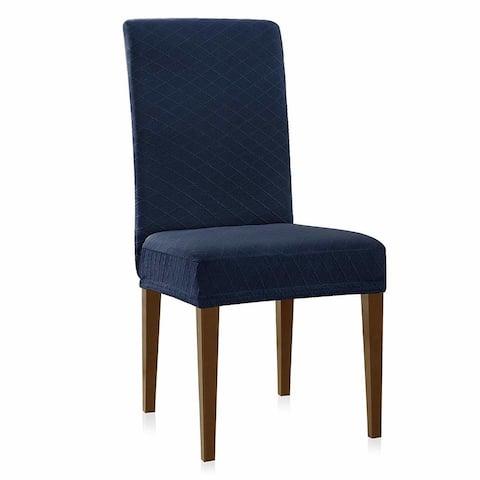 Enova Home Rhombus Jacquard Stretchy Universal Dining Chair Slipcovers Set of 2