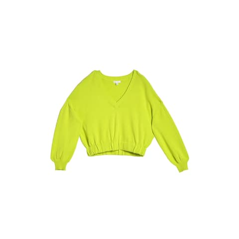 Abound Women Sweater Neon Green Size Large L Ribbed Knit Cropped V-Neck