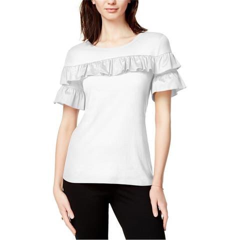 Maison Jules Womens Ruffled Basic T-Shirt