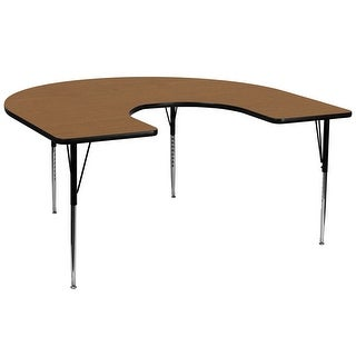 Fun & Games Activity Table 60''W x 66''L Horseshoe Oak Thermal Laminate Adj Height