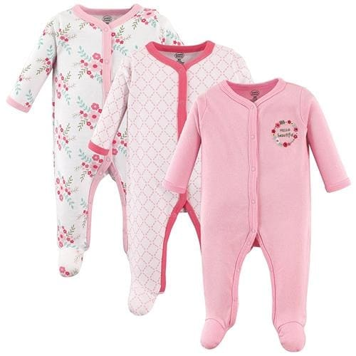 Luvable Friends Girls 0-9 Months Floral Sleep and Play 3-Pack