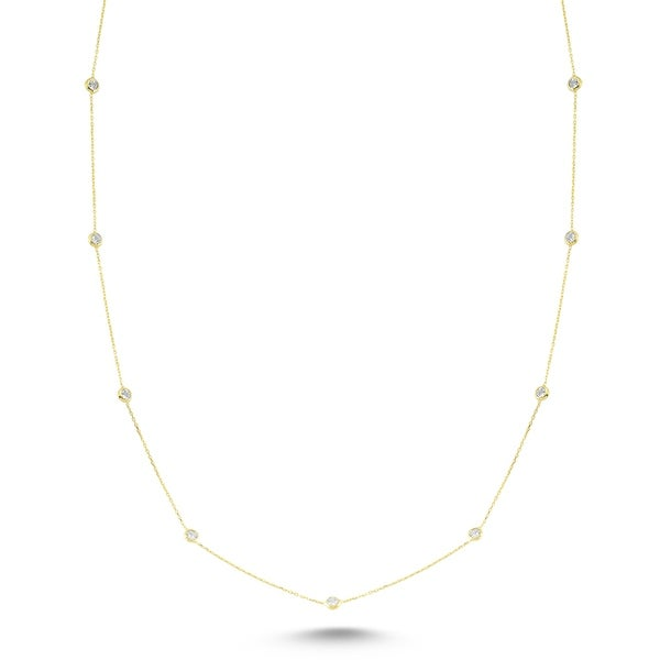 Amorium Long Mimosa Necklace in Gold Plated Sterling Silver