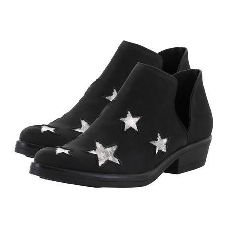 Faux Leather Memory Foam Midsole Austin Ankle Boot in Black Size 7.00