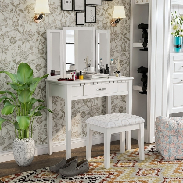 Furniture of America Jade Transitional White 3-piece Vanity Set. Opens flyout.