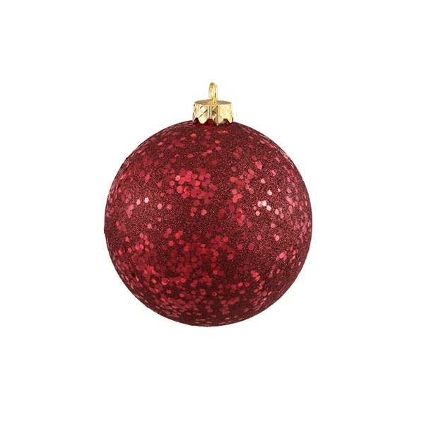 "Burgundy Red Holographic Glitter Shatterproof Christmas Ball Ornament 4"" (100mm)"