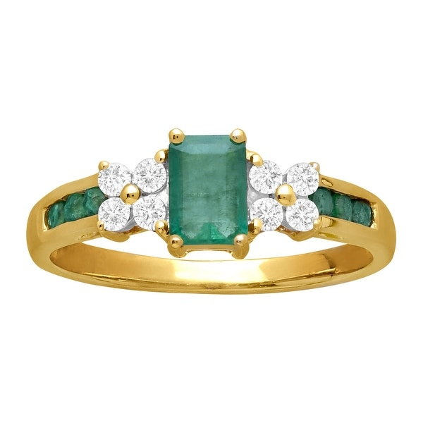1 1/10 ct Natural Emerald & White Sapphire Ring in 14K Gold - Size 7 - Green