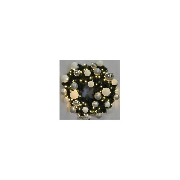 Christmas at Winterland WL-GWSQ-02-ICE-LWW 2 Foot Pre-Lit Warm White Sequoia Wreath Decorated w/ Ice Ornaments Indoor / Outdoor