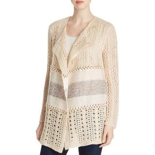 Cupio Womens Cardigan Sweater Patchwork Long Sleeves