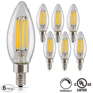 1 PACK/6 PACK LED Filament Candelabra Bulb,Dimmable,4.5W Vintage Style E12,2700K
