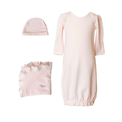 Baby Girls Pink Bamboo 3pc Gown Hat Blanket Layette Set - 3-6 Months