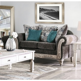 Link to Furniture of America Tuva Traditional Grey Chenille Loveseat Similar Items in Living Room Furniture