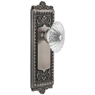 """Grandeur WINBUR_PSG_234  Windsor Solid Brass Rose Passage Door Knob Set with Burgundy Crystal Knob and 2-3/4"""" Backset"""