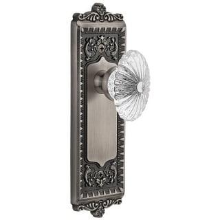 """Grandeur WINBUR_PSG_238  Windsor Solid Brass Rose Passage Door Knob Set with Burgundy Crystal Knob and 2-3/8"""" Backset"""