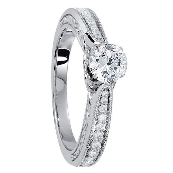 Shop Mirielle Hand Engraved Micropave Platinum Engagement Ring With