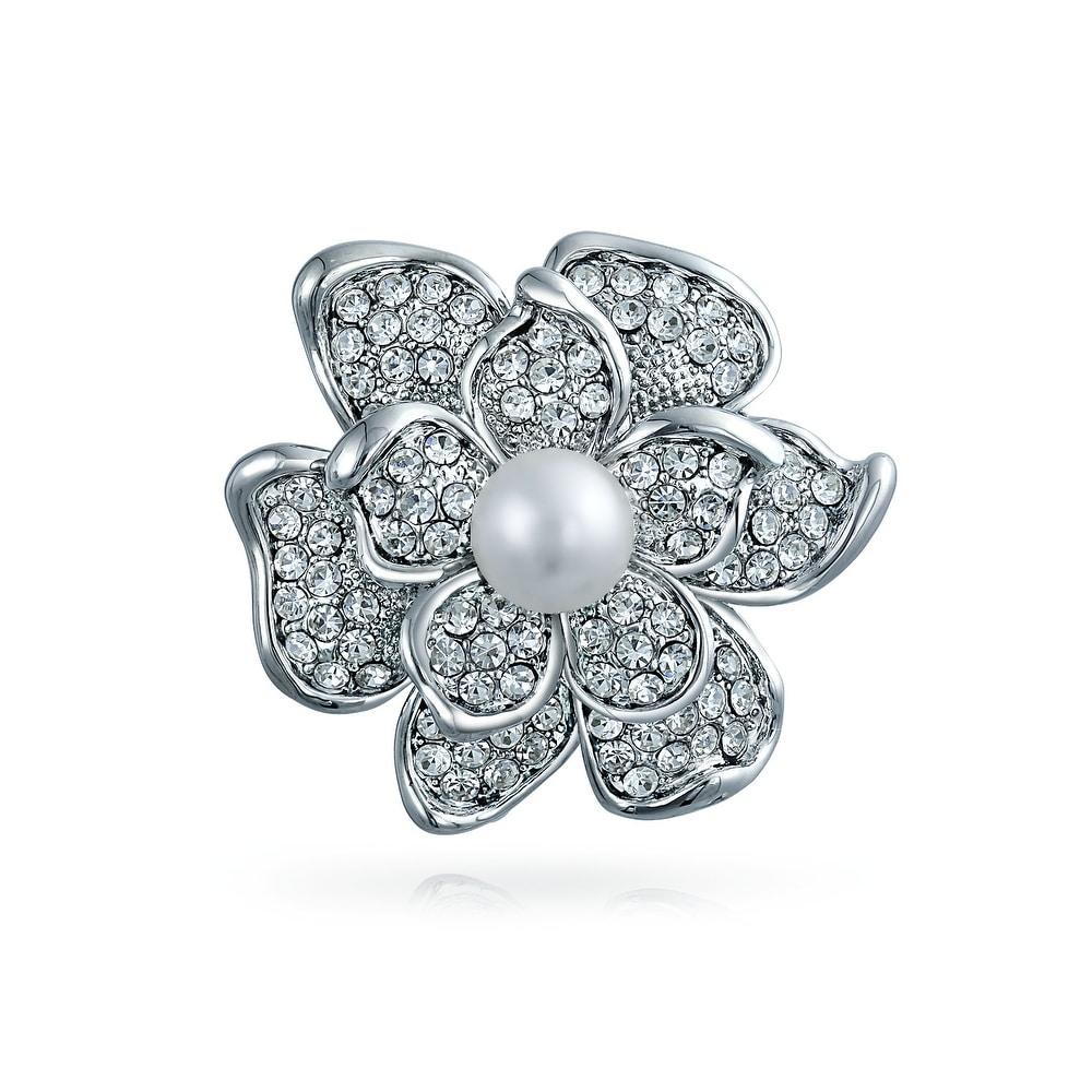 Charm Bridal Bouquet Crystal Pearl Rhinestone Bowknot Brooch Pins Metal Brooches