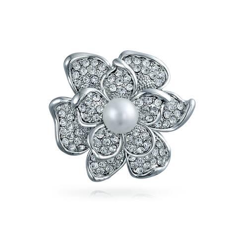 Bridal Rose Flower Brooch Pin Crystal Pearl Rhodium Plated Alloy