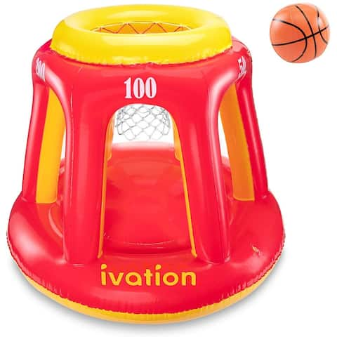 Ivation Inflatable Floating Basketball Hoop & Blow Up Ball for Swimming Pool & Water Sports