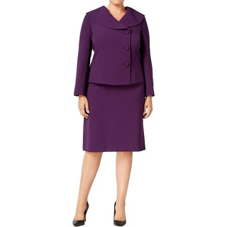 Tahari ASL Womens Plus Skirt Suit Crepe Three-Button Front - 22W