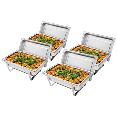 9L 2/4 Set Single Basin Stainless Steel Rectangular Buffet Stove for Home Dinner, Outdoor Party