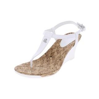 Lauren Ralph Lauren Womens Naris Wedge Sandals T-Strap Cork
