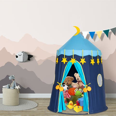 Kids Playhouse Cotton Yurt Tent With Small Colorful Flags Blue