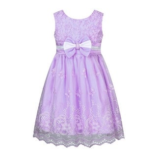 Richie House Little Girls Purple Embroidered Bow Accent Flower Girl Dress