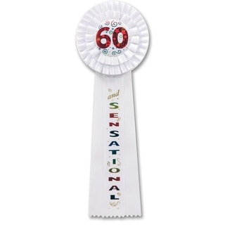 """Pack of 3 White """"60 and SENSATIONAL"""" Birthday Party Deluxe Rosette Ribbons 13.5"""""""