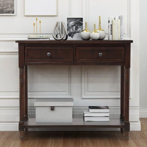Nestfair Daisy Series Console Table with Drawers and Bottom Shelf