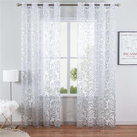 Sheer Curtain Panel White Window Treatments, Dolce Mela DMC496
