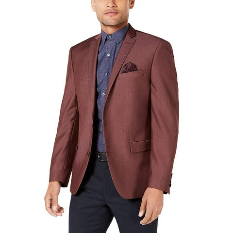 Bar III Men's Jacket Red Size 44R Slim Fit Active Stretch Twill