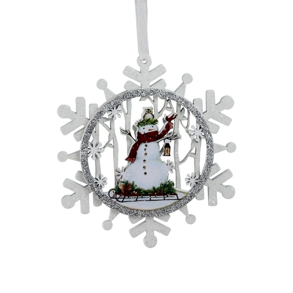 """5"""" White and Silver Snowman on a Sled Glittered Cut-Out Snowflake Wooden Christmas Ornament"""