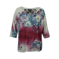Style & Co Women's Floral Lace-Trimmed Shirt - haze of plaid