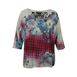 Style & Co Women's Floral Lace-Trimmed Shirt - haze of plaid