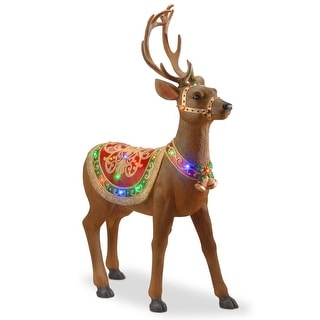 "Link to 49"" Brown and Gold Pre-lit Standing Reindeer Christmas Decoration - Multi Color LED Lights Similar Items in Christmas Decorations"