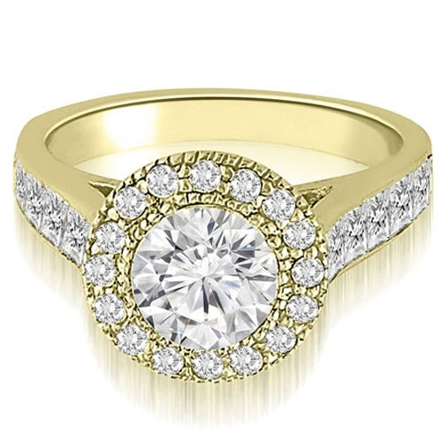 1.54 cttw. 14K Yellow Gold Halo Round Cut Diamond Engagement Ring