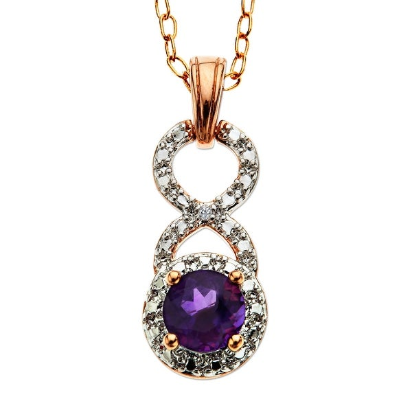 5/8 ct Amethyst Pendant with Diamond in 18K Rose Gold Plate - Purple
