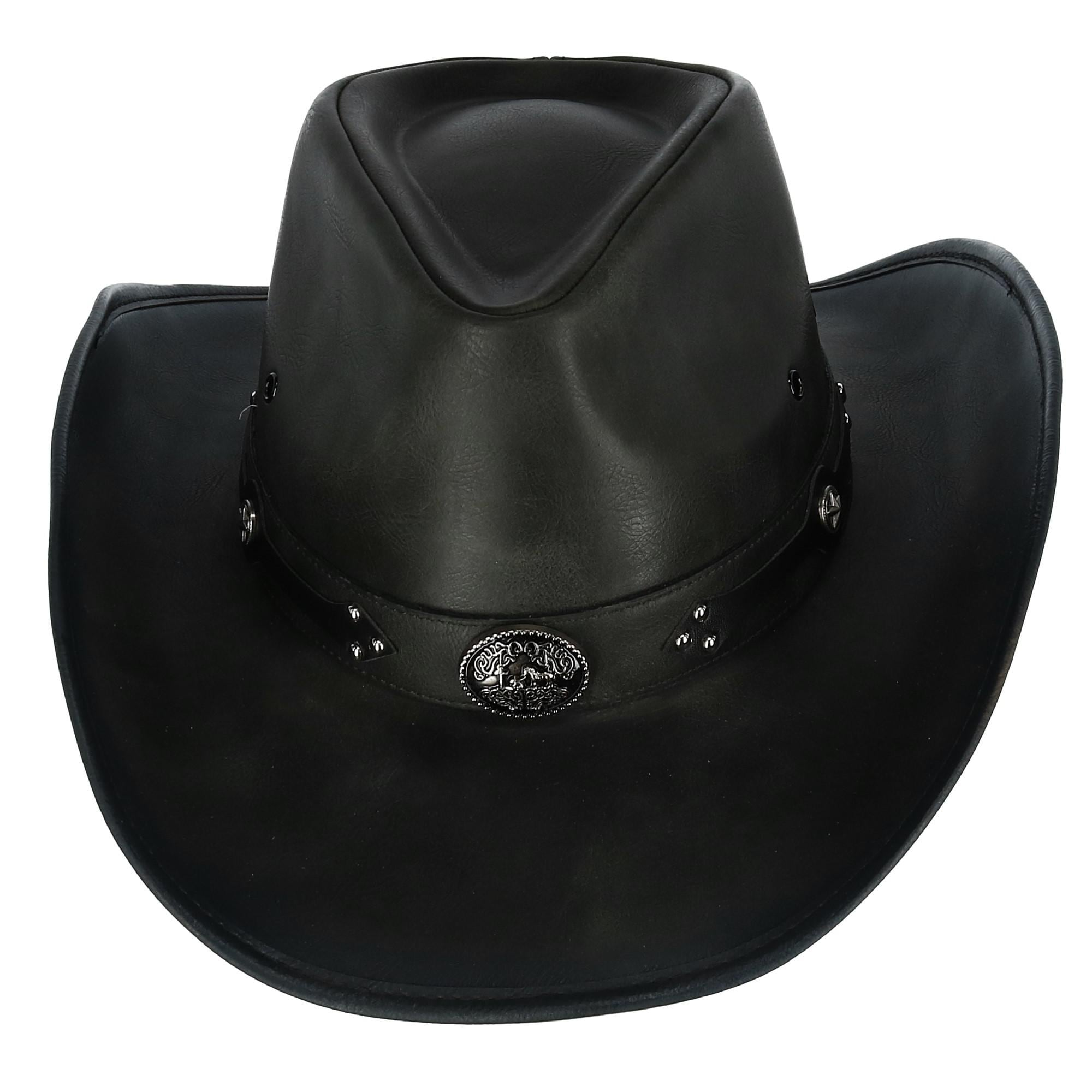068a9df2 Shop Kenny K Men's Distressed Faux Leather Western Hat with Black Conchos  and Studs - Free Shipping On Orders Over $45 - Overstock - 24184220