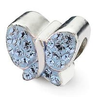 Sterling Silver Reflections Blue Swarovski Elements Butterfly Bead (4mm Diameter Hole)