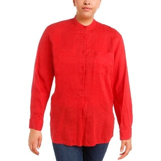 Lauren Ralph Lauren Womens Dimone Pullover Top Linen 1/4 Button Up